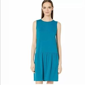 EILEEN FISHER BLUE CASUAL DROP WAIST DRESS